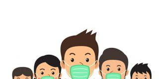 Covid-19 virus protection concept people wearing protective face masks illustration in cartoon style for design.